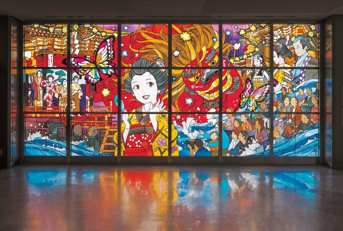 ステンドグラス「蝶たちと戯れる大獅子」